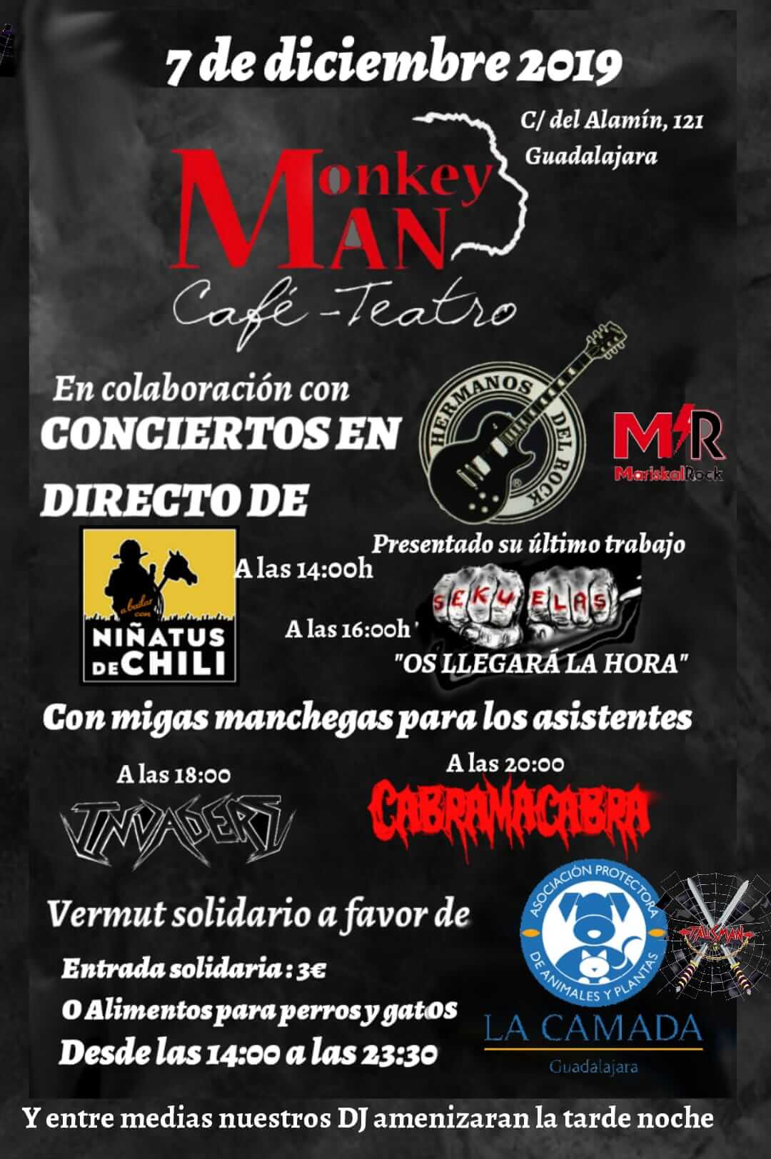 Vermú solidario y conciertos de Rock en Monkey Man a favor de los perros y gatos de La Camada